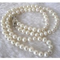 Wholesale Long quot mm Real Natural White Akoya Cultured Pearl Jewelry Necklace