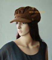 Wholesale Brown ladies brown corduroy winter cap hat warm hat
