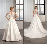 banded dress shirt - 2017 A Line vestidos de novia Modest Wedding Dresses with Long Sleeve Sheer Deep V Neck Appliques Court Train Ruched Band Bridal Gowns