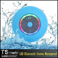 bathroom floor lighting - Dustproof Bathroom Waterproof Wireless Bluetooth Speaker Stereo With LED Light Car Shower Speaker Handfree for iphone samsung mobile phone
