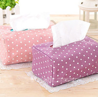Wholesale new korean style cute printed polka dots tissue box tissue paper holder storage box zipper pouch