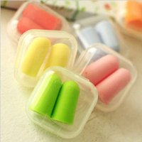 Wholesale Cute Candy colors Bullet style Foam Sponge Ear Plugs sleep earplugs Travel Sleep Noise Reducer multicoolor A0375