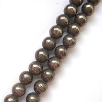 Wholesale Fashion Jewelry Good Quality mm Natural Pyrite Round Stone Loose Beads For DIY Jewelry Making