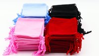 Wholesale 200Pcs Blue black red pink Velvet Drawstring Jewellery Gift Bags Pouches HOT