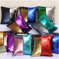 Wholesale Sequins Pillow Tone Color Suede Pillowcase Case Revrsible Cushion Cover Home Sofa Car Decor Mermaid Pillow Covers
