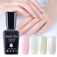 belle nail art - Belle Fille Bling Glitter Gel Nail Polish Light Pink Bling Shining Nail Gel For UV LED Lamp Vernis Semi Permanent Gel Poliah Art