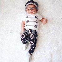 arrow shorts - 2107 Ins Baby Boys Clothing Sets Cotton Summer Short Sleeve Arrow t shirts Printed Pants Piece Baby Clothing Sets