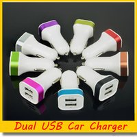 Wholesale Metal A Dual USB Car Charger Universal for iPhone Samsung Android Phones Ports Colorful Chargers Free DHL Ship