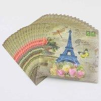 Precio de Torre eiffel al por mayor del partido-Las PC de la venta al por mayor-20 / la porción París y la torre Eiffel los envuelven la servilleta de papel para la decoración de la fiesta de cumpleaños de la diversión suministran la decoración 30 * 30cm del favor del muchacho