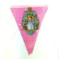 Wholesale pack Princess Sofia Happy Birthday Handmade Paper Flags Bunting Banner for Birthday Party Decoration Supplies Home Decoration