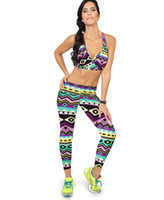american football supplies - Women s new European and American lady printed leggings Sports Bra Set Factory direct supply hot selling