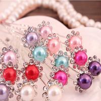 Wholesale Cheap In Stock Wedding Accessories Bridal Pearls Hairpins Flower Crystal Pearl Rhinestone Hair Pins Clips Bridesmaid Women Hair Jewelry