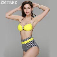 bech wear - ZMTREE Yellow Bikini Set Black Striped Swimsuit Women Solid Bow Bikini Swimwear High Waist Swimsuit Swim Bathing Suits Bech wear