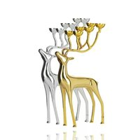 Wholesale European candle table home accessories Candlestick Decoration gift candles the material is alloy silver metal objects elk shape on behalf