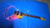 Wholesale new acrylic body electric guitar and the color blue red green LED guitar guitar in China