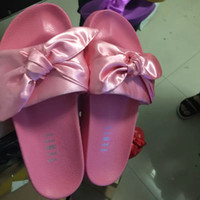 Wholesale New In Box Fenty bowknot Slippers By Rihanna Colors Size Satin Slipper Bow Slide Slippers Sandal with bowtie DHL Pink