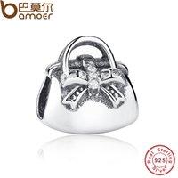 Charms authentic handbags wholesale - Authentic Sterling Silver Sparkling Clear CZ Handbag Charms Fit Bracelet Necklace Jewelry PAS162