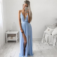 Reference Images baby girl fall dress - 2016 Sparkly Sexy Deep V neck Baby Blue Prom Dresses Chiffon Spaghetti Straps High Split Girls Graduation Party Prom Party Gowns Custom Made