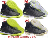 Wholesale Hot sell top quality mens fashion Mercurial Superfly V CR7 black green TF FG IC AG Soccer shoes Laceless Cleats Cheap Football boots