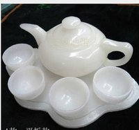 antique jade carvings - Genuine natural jade Teapot Set Afghanistan white jade SET tea wine glass jade ornaments Kung Fu tea gifts