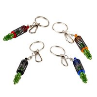 Wholesale Metal Turbo Tuning TEIN Damper Shock Adjustable Coilover Keyring for Accod Escape MK6 Golf7 Civic Car Key Chain Key Ring175bl
