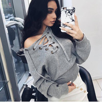 Wholesale Lace Up Top Casual Knitting V Neck Bandage Mujer Jersey Knit Sweater Women Winter Sexy Fashion Sweaters Pull Femme Hiver