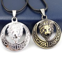 Wholesale Men s Stainless Steel Silver Brown Lion Head Chain Fashion Necklace Pendant Gift