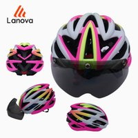 Wholesale LANOVA Cycling Bicycle Helmet with Cycling Glasses Ultralight Integrally molded Road MTB Helmet With LED Light Adults Bike Helmet