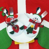 best kitchen cutlery sets - Best Selling Xmas Decor Lovely Snowman Kitchen Tableware Holder Pocket Dinner Cutlery Bag Party Christmas table decoration cutlery sets