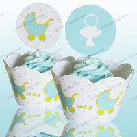 Wholesale Baby carriage cupcake wrappers baby shower boy decoration birthday party favors for kids PRAM cup cake toppers picks supplies