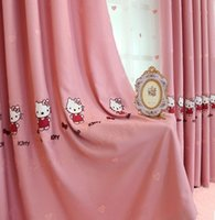 bedroom curtain patterns - Kitty cartoon cat pink curtains exclusive unique flower pattern design is beautiful and elegant cotton embroidered children bedroom curtains