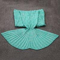 Wholesale Kids Mermaid Blankets Kids Tail Mermaid Sleeping Bag Handmade Mermaid Blankets Knit Sofa Nap Falbala Blankets cm WJJLZ