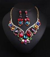 Mode Bijoux Indiens Boucles D'oreilles Cristal Collier Cristal Bridal Set De Bijoux Accessoires De Mariage Décoration Cadeau De Noël
