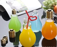 Wholesale Creative Eye catching Light Bulb Shape Tea Fruit Juice Drink Bottle Cup Plant Flower Glass Vase Home Office Desk Decoration HHA980