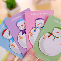 Wholesale 20 Sets Cute Snowman Shape Christmas Gift Planner Stickers Office Kid Sticky Notes Memo Pad Post It Office School Supplies Material Esco