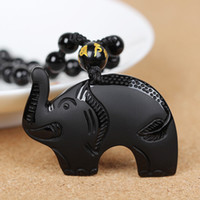 Cheap Hot Sell High Quality Natural Obsidian Elephant Pendant Necklace Animal Necklace Sweater Chain Jade Crystal Jewelry