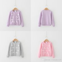 Wholesale ZY32 kids Girls spring winter O neck full stereo bowknot cardigan long sleeve sweaters child girl cotton warm sweater DHL free ship