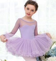 Wholesale girls cotton long sleeve ballet leotard with lace tutu ballet costume with heart neckline
