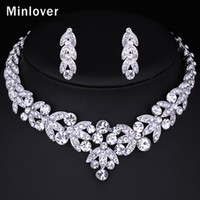 Wholesale Minlover Silver Color Crystal Bridal Jewelry Sets Leaf Shape Choker Necklace Earrings Wedding Jewelry for Women TL206