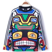 Wholesale Fashion men casual pullover hoodies novelty print Indian Maya totem sweatshirts sport wear for male