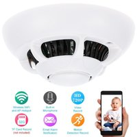 Wholesale HD P Spy IP Camera Smoke Detector Mini WiFi P2P Network Indoor Cam for Kids Security with MIC Motion Detection Android iOS Phone Control