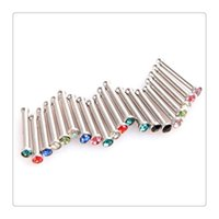 Wholesale of Multi Crystals Nose Rings Bone Nose Stud Bar Barbell Piercing mm