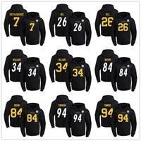 bell press - Steelers Men hot press Hoodies LeVeon Bell DeAngelo Williams Antonio Brown Lawrence Timmons Hoodie black Jerseys Size S XL