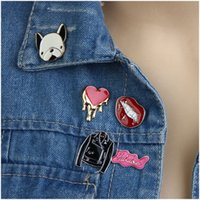 accessories tiny dogs - Fashion Tiny Brooch Pins For Women Shirt Fashion Clothing Accessories Multi Color Enameled Cute Dog Sexy Lip Heart Coat Charms