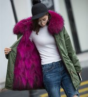Wholesale Winter Women Long Down Parka Coat Real Big Raccoon Fur Collar Fox Fur Liner Jackets