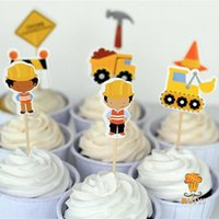 baby dump - construction cake toppers dump trucks cupcake picks cases kids birthday party decoration baby shower candy bar
