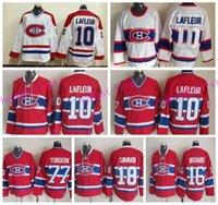 al por mayor chico de la vendimia-Hombres Montreal Canadiens 16 Henri Richard Jersey Muerte 18 Serge Savard 77 Pierre Turgeon 10 Guy Lafleur Clásico Vintage Hockey Jerseys