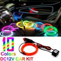 Wholesale Car DIY decoration V EL strip flashing light kit neon party EL glow wire flexible rope tube Led Atmosphere light
