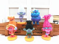 Wholesale 5pcs DREAMWORKS Movie Trolls PVC Action Figures Toys cm Poppy Branch Biggie Collection Dolls for Kid Figures Model Toys Christmas Gift