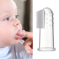 Wholesale Baby Finger Toothbrush Children Teeth Clear Massage Soft Silicone Infant Rubber Cleaning Gum Brush Massager Cute